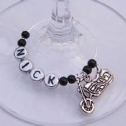 Motorbike Personalised Wine Glass Charm
